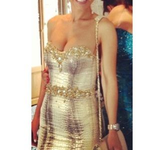 Jovani Metallic Snake Mermaid Dress Size 0